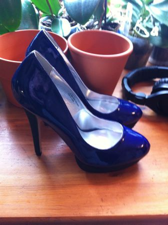Blue Patent Leather High Heels
