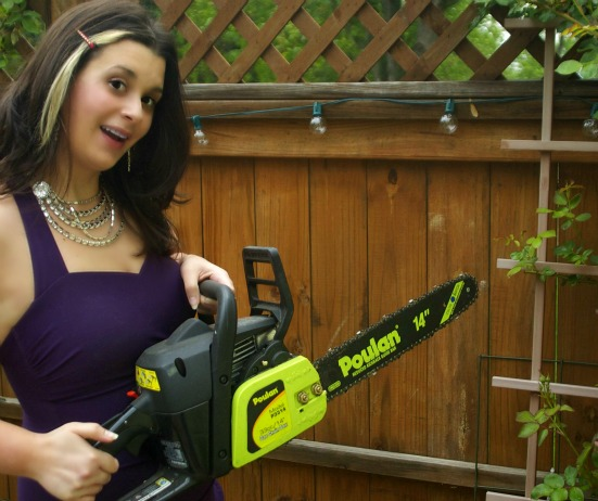 girls in bathing suits with chainsaws
